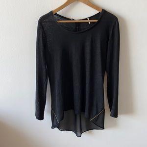 Sandro Paris size 1 linen silky rear zip blouse